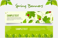 3款春季绿叶和瓢虫banner矢量素材