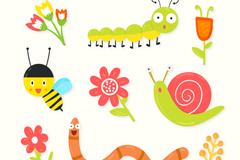 9款春季昆虫和花朵矢量素材