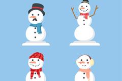 4款白色微笑雪人形象矢量素材