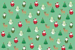 卡通圣诞元素无缝背景矢量图