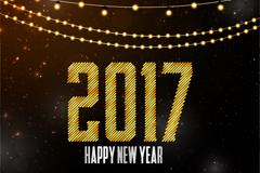2017年闪亮新年贺卡矢量素材
