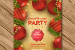 红色圣诞吊球节日派对宣传单矢量图