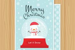 圣诞雪人水晶雪球贺卡矢量素材