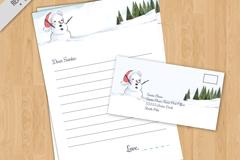 彩绘雪人信纸和信封矢量素材
