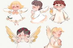 5款可爱彩绘祈祷小天使矢量图