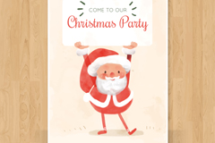 彩绘圣诞老人派对邀请卡矢量素材