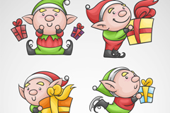 4款卡通圣诞礼盒精灵矢量素材