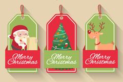 3款卡通圣诞节吊牌矢量素材