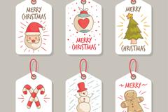 6款彩绘圣诞节祝福吊牌矢量素材
