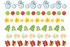 8款创意圣诞元素装饰花边矢量图