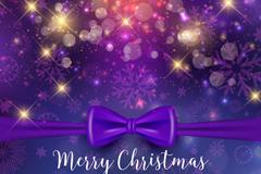 紫色蝴蝶结圣诞贺卡矢量素材
