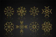 9款金色雪花设计矢量素材