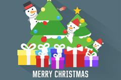 卡通圣诞树礼盒和雪人贺卡矢量图
