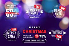 9款创意圣诞节折扣标签矢量图