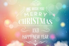 梦幻背景圣诞新年贺卡矢量素材