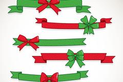 6款红绿色蝴蝶结丝带矢量素材