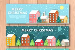 3款下雪的圣诞节城市banner矢量素材