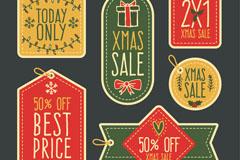 6款彩绘虚线边圣诞节促销吊牌矢量素材