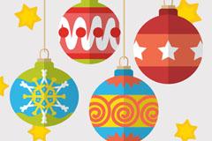 4个彩色扁平化圣诞吊球矢量图