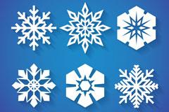6款精美白色雪花剪纸矢量素材