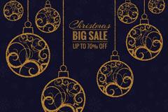金色花纹圣诞吊球折扣海报矢量素材