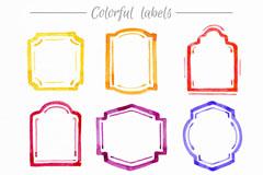 9款水彩绘框架标签矢量素材