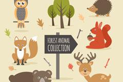 6款卡通森林中的动物矢量素材