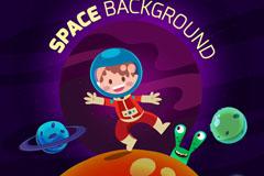 卡通探索太空的宇航员和外星人矢量素材