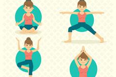 4款练瑜伽的女子动作矢量素材