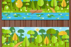 2款扁平化绿色郊外风景banner矢量素材