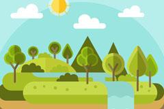 扁平化树林与瀑布风景矢量素材