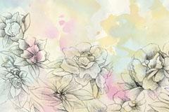 素雅手绘花卉矢量素材
