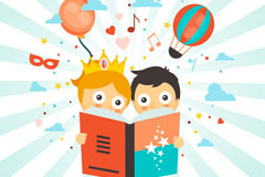 2个卡通看书的孩子矢量素材