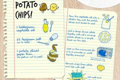 彩绘薯条制作食谱矢量素材