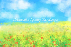 水彩绘蓝天下的花丛风景矢量素材