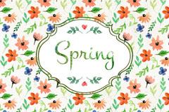 春季水彩花朵无缝背景矢量素材