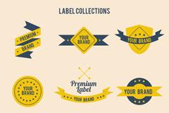 9款蓝黄色标签设计矢量素材