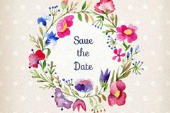 水彩绘花环婚礼邀请卡矢量素材