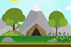 雪山下的帐篷风景矢量素材
