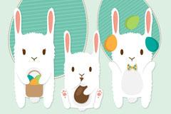 三只白兔复活节剪贴贺卡矢量图