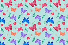 彩色蝴蝶和花朵无缝背景矢量素材