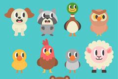 11款卡通斜眼看的动物矢量素材