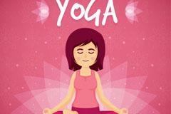 卡通练瑜伽的女子矢量素材
