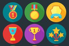 9款精美奖牌和奖杯图标矢量素材