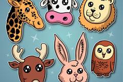 6款创意星星眼动物头像矢量素材