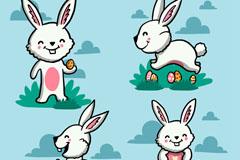 4款可爱的小白兔设计矢量素材