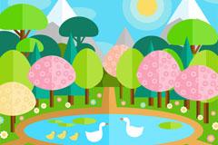 春季池塘里的鹅风景矢量素材