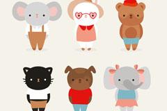 6款可爱着装小动物矢量素材