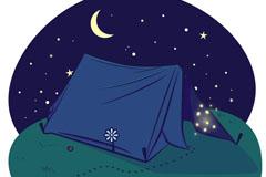 夜晚的郊外野营帐篷插画矢量素材