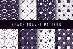 8款太空旅行元素无缝背景矢量图